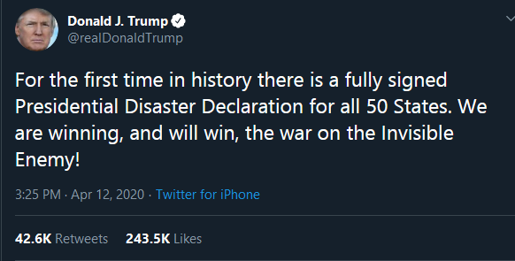 Screenshot_2020-04-18 Donald J Trump on Twitter For the first time in history there is a fully signed Presidential Disaster[...]